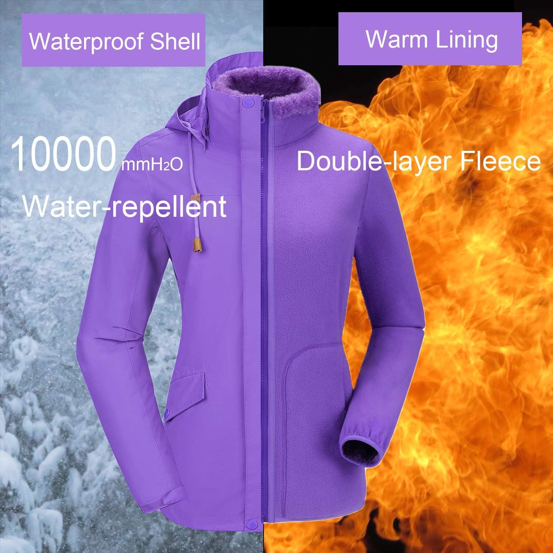 Women Winter Ski Fleece Jacket Windbreaker Waterproof Insulated Coat Women 3-in-1 Hiking Softshell Jacket Outdoor