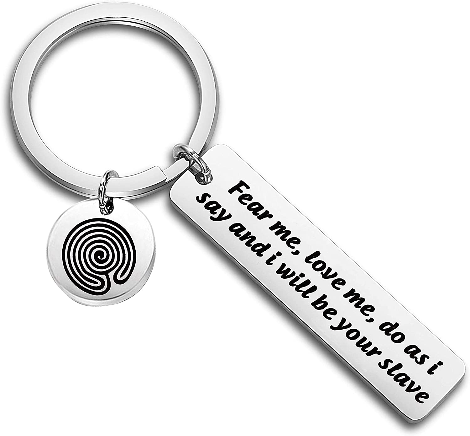TIIMG David Bowie Lyrics Labyrinth Movie Inspired Gift Fear Me Love Me Do As I Say and I Will Be Your Slave Keychain Gift for Boyfriend Husband Girlfriend
