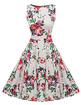 36b0fa98201 Kostlich Floral Print Summer Dress Women Sleeveless Vintage Dress Elegant  Rockabilly Party Dresses Sundress (S