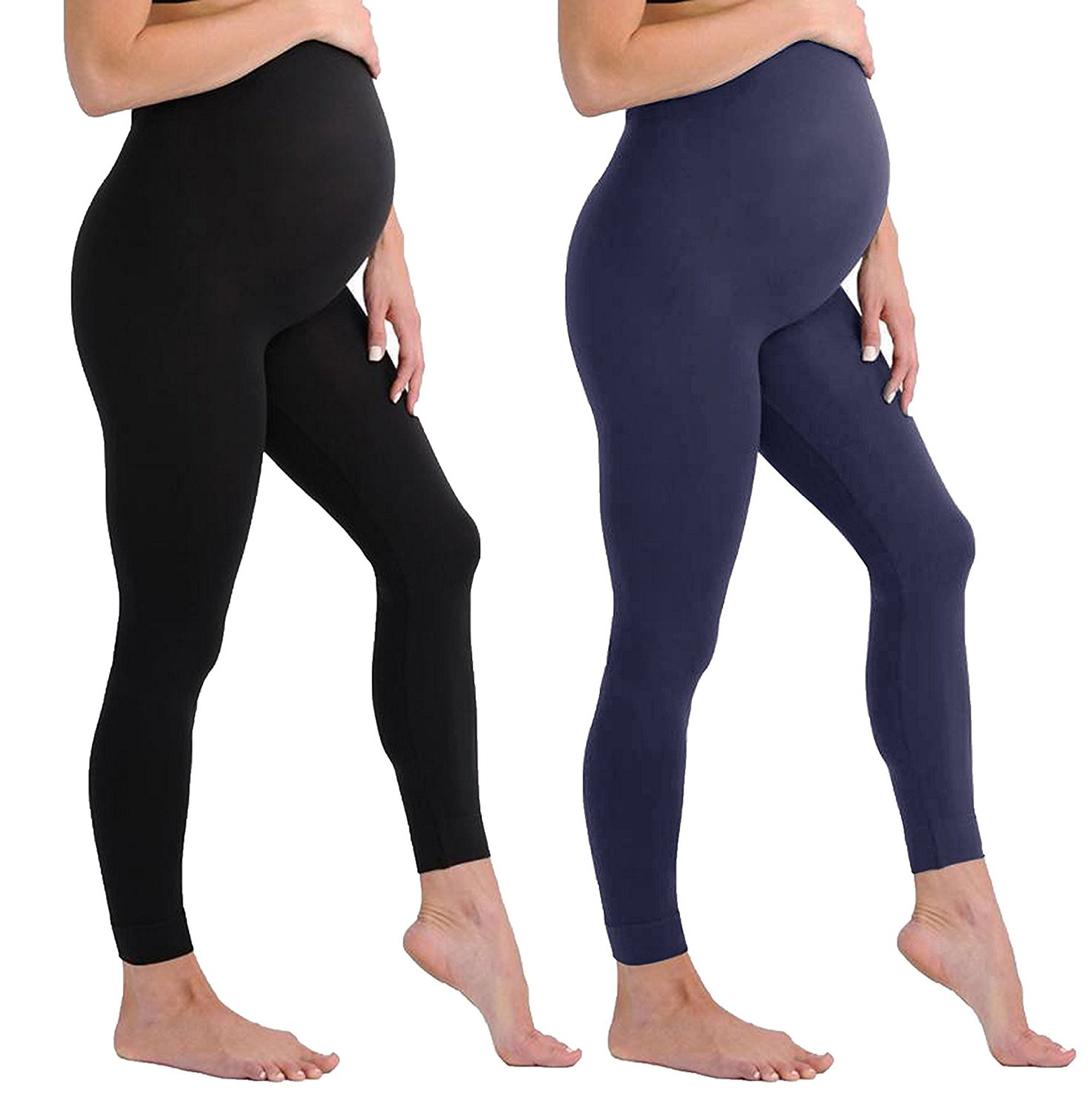 Touch Me Maternity Leggings Black Navy Grey Soft Solid Stretch Seamless Tights One Size Fits All Active Wear Yoga Gym Clothes (Maternity - One Size Fits All, 2 Pack of Black and Navy Leggings)