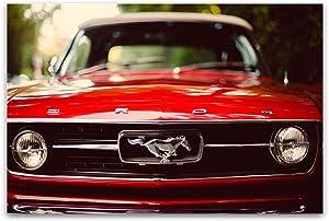 "Glass Wall Art Acrylic Decor Ford Mustang, Cars Startonight Artwork 24"" x 36"""
