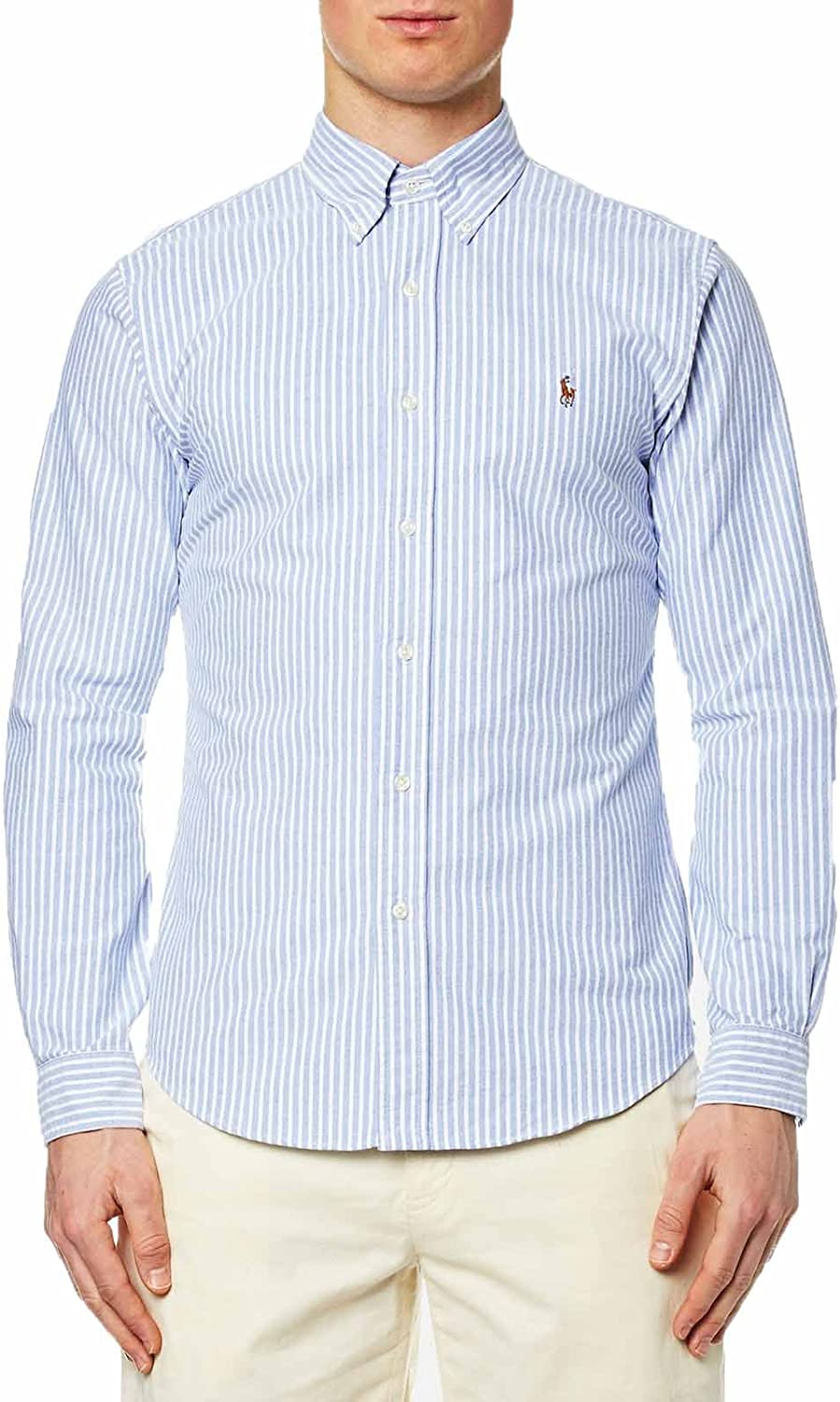 Mens Button Down Pinpoint Oxford Shirt Large, Blue//White