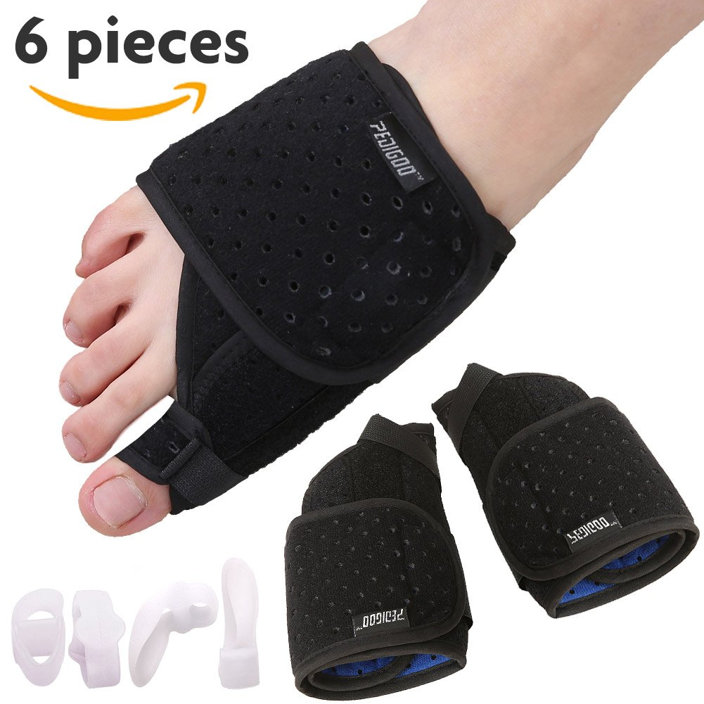 Bunion Corrector Bunion Relief Kit (Bunion Splints,Gel Toe Protect Separator Sleeves&Toe Separators) for Hallux Valgus-Day/Night Time Support for Men&Women(Foot Length 9-11 inch, Size 6-11),Ventilate