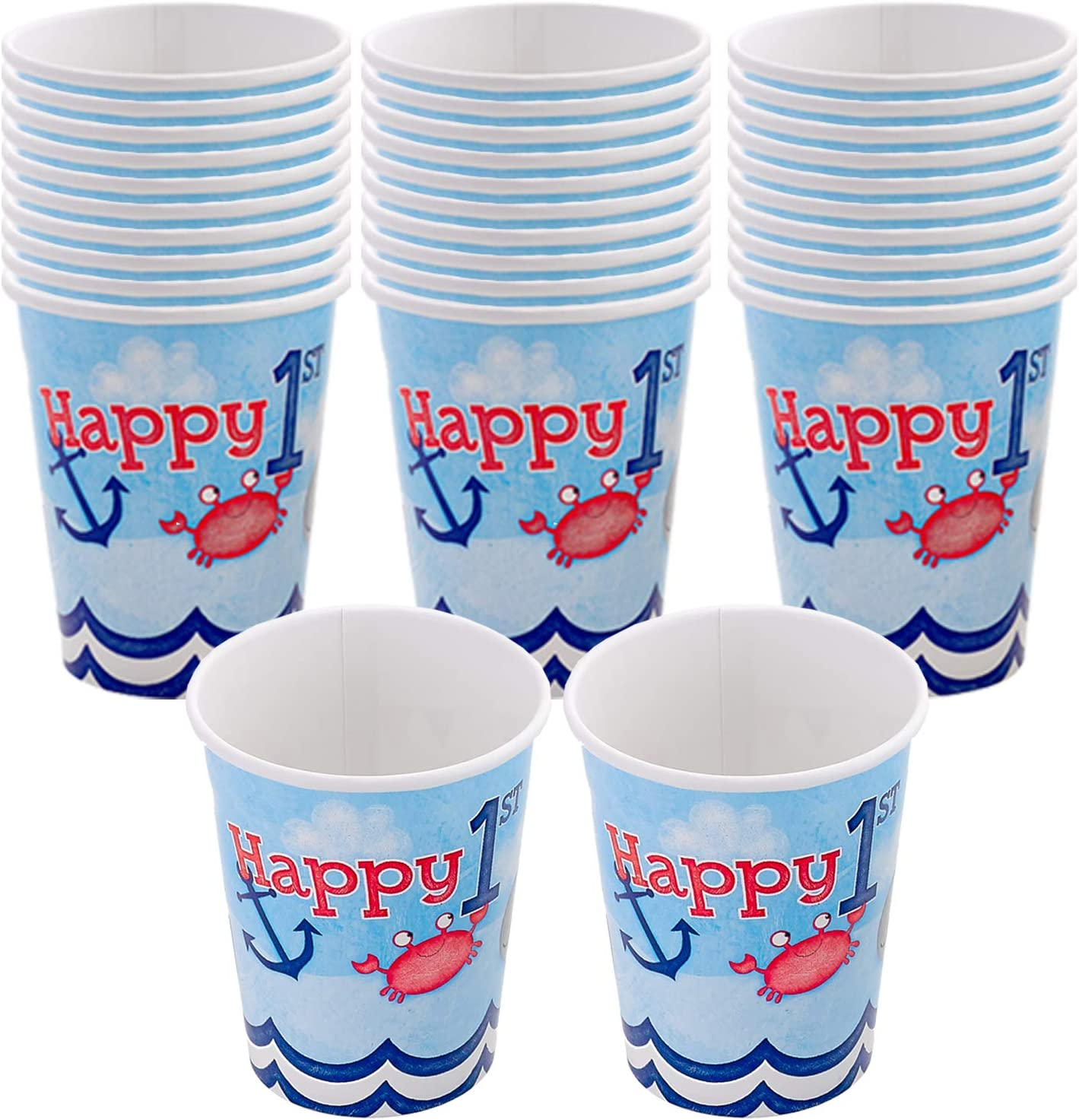 Kicko First Birthday Paper Cups, Nautical Themed, Blue - 32 Pack - 9 Ounces - Disposable Drinking Glasses - Dinner Accessories for Party Favors, Holidays, Weddings, Office, Outdoor Activities and More
