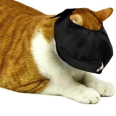 Bozal para gato, protector de boca ajustable, de nailon transpirable, se ajusta rápidamente de 1,27 ...