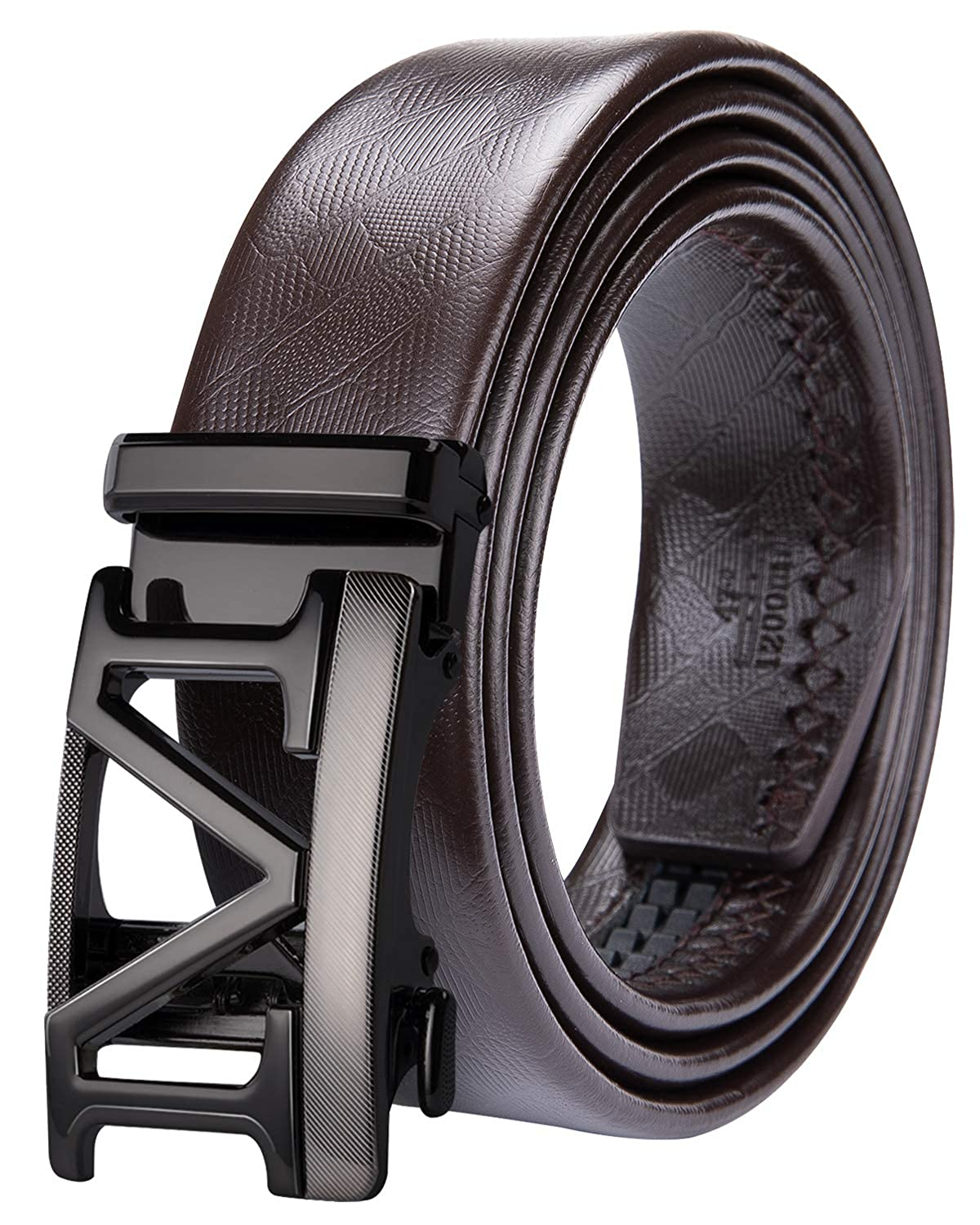 Dubulle Mens Leather Belt Adjustable Slide Buckle Jeans Belt Black Automatic Ratchet Belt for Men