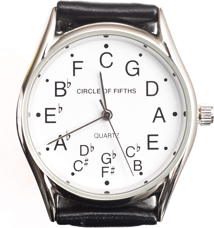Círculo de quintas partes reloj para hombres, color plateado: Amazon.es: Instrumentos musicales
