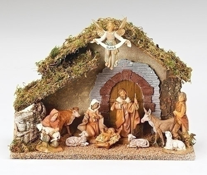 10-Piece Fontanini 5'' Religious Christmas Nativity Set with Italian Stable #54481