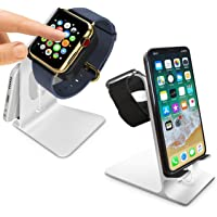 Orzly Charge Station for Apple Watch & iPhone (Duo Stand Silver)