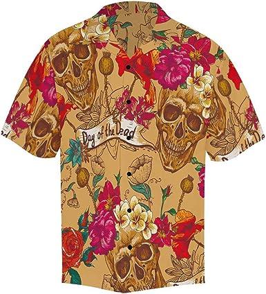 InterestPrint - Camisa para Hombre, diseño de Calavera y Amapolas, cómoda y Transpirable - Multi - X-Large: Amazon.es: Ropa y accesorios