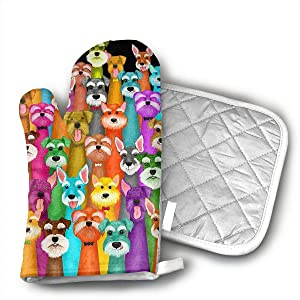 TRENDCAT Colorful Oil Cute Schnauzer Dogs Oven Mitts and Potholders (2-Piece Sets) - Extra Long Professional Heat Resistant Pot Holder & Baking Gloves - Food Safe