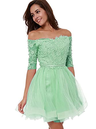 6729728147a9 Women s Off Shoulder Lace Short Prom Homecoming Dress with Sleeves Aqua 2
