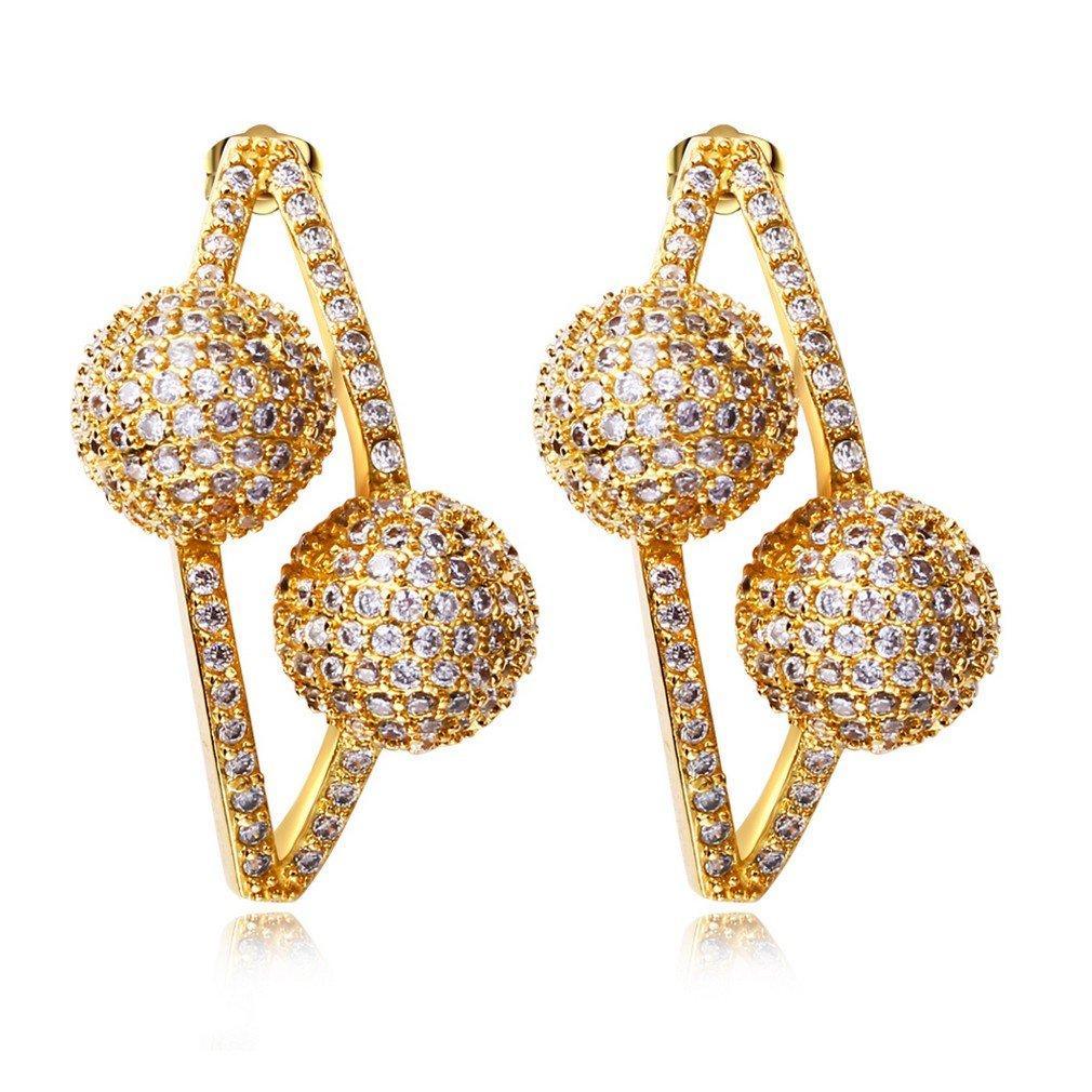 K-Elegant Double ball earrings with stones Long earrings for for wedding party earrings