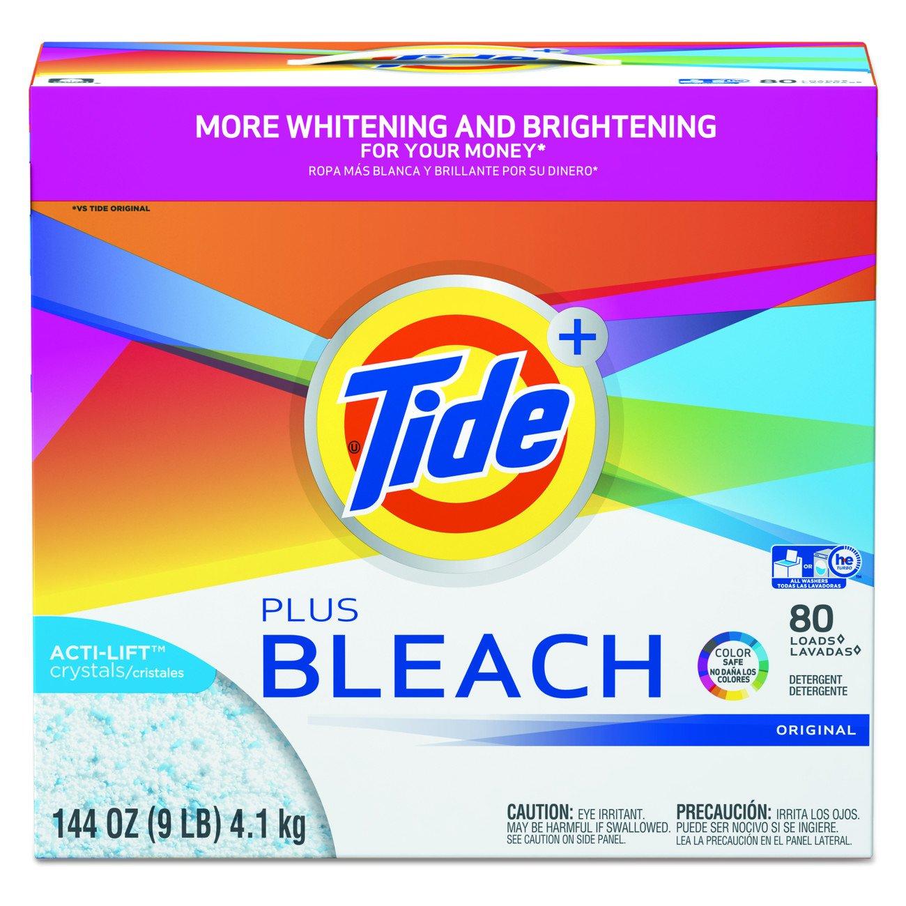 Tide Plus Bleach Powder Laundry Detergent, Original, ( 144 Ounce ., 80 Loads Each), 2 Count