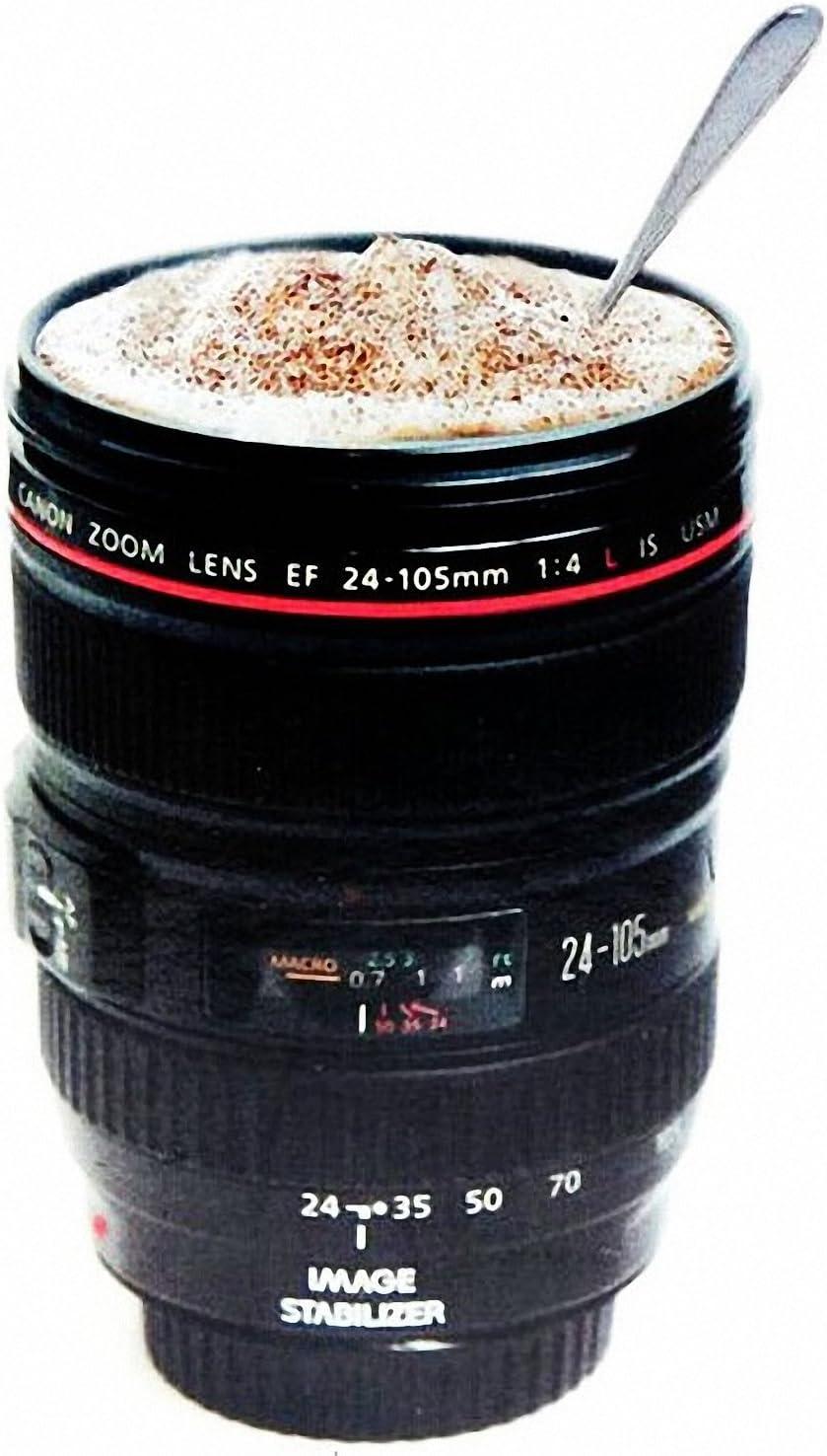 BourneTech Taza de cámara, Taza de Lente, Taza de café, Taza de Viaje con Soporte para Galletas Modelo 24-105 mm Taza de Taza de Acero Inoxidable, café, Agua, té
