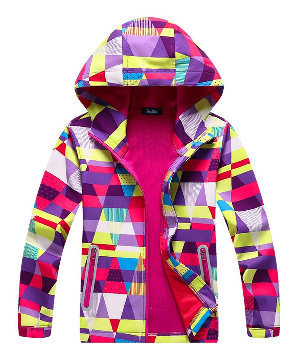 Hiheart Girls Composite Mesh Lined Packable Windproof Hoodies Jacket Purple 7/8