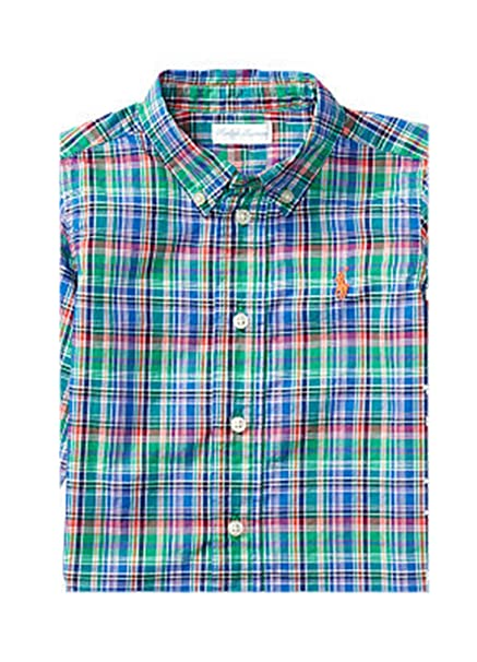 88cfe53e1 Amazon.com  Ralph Lauren Baby Boy Plaid COTTON Long Sleeve POPLIN Shirt  Size 6 M Green Multi  Clothing