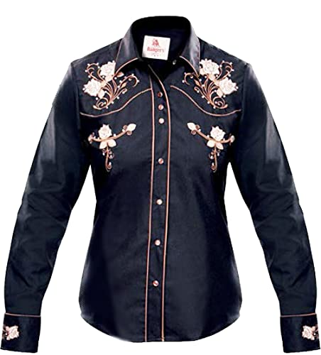 Modestone Women'S Embroidered Fitted Western Camisa Vaquera Floral Black