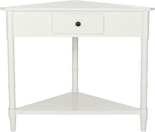 Safavieh Gomez Corner Table with Storage Drawer Distressed Cream White