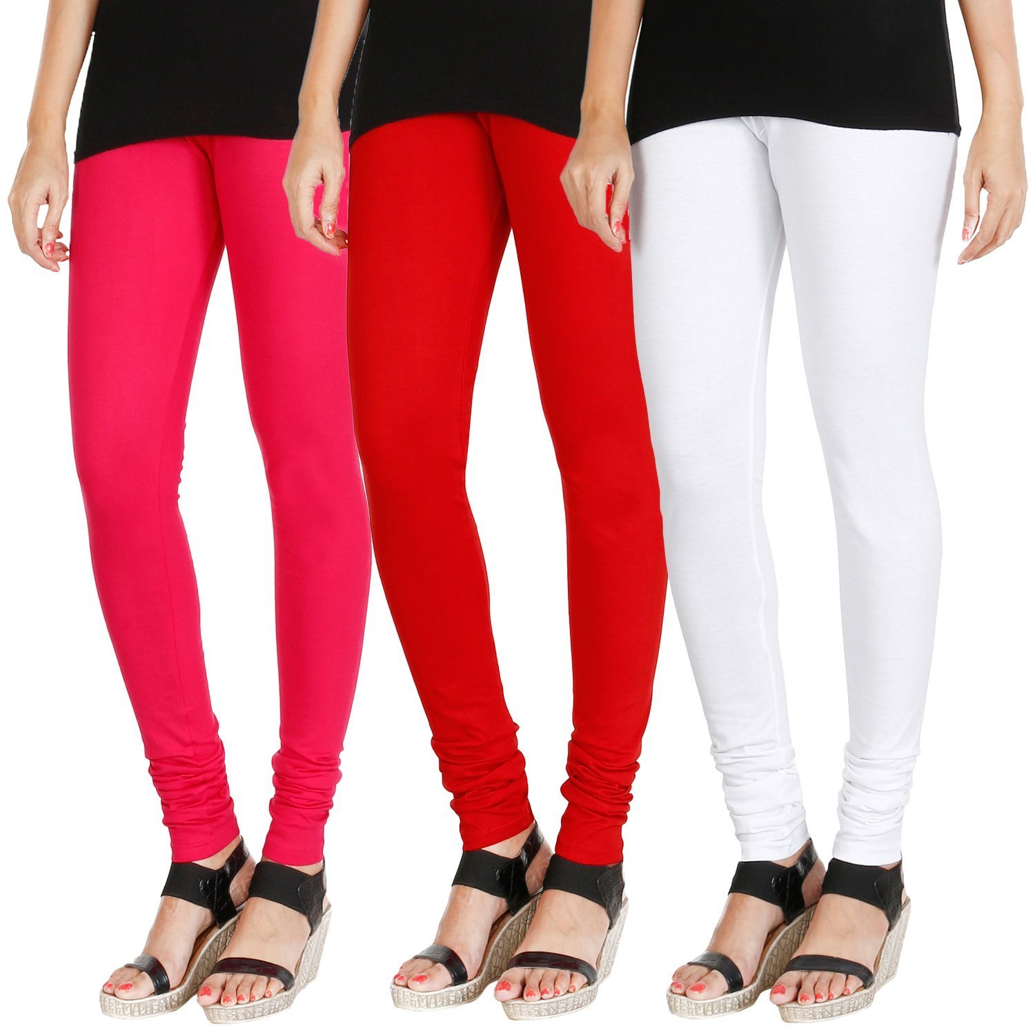 1d7c3451eb390d Tapestry Lovers Ladies/Women/Girls Soft Cotton Lycra Churidar Stretchable  Leggings Size L, XL, XXL, Combo Pack of 3: Amazon.in: Clothing & Accessories