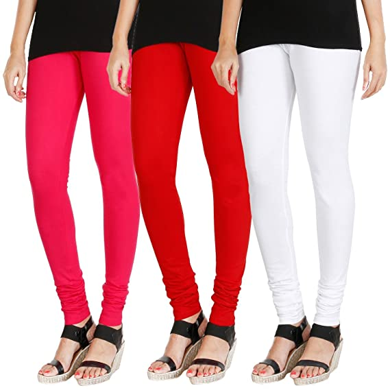 d583342fa4744a Tapestry Lovers Soft Cotton Ladies/Women/Girls Lycra Churidar Stretchable  Yoga, Sports, Leggings, in Pink, Red and White Size, L Combo Pack of 3:  Amazon.in: ...