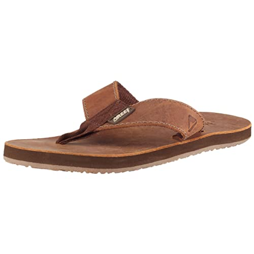 2aa82437653 Reef Leather Smoothy Flip Flop - Men s Brown Distressed Croc  Amazon ...