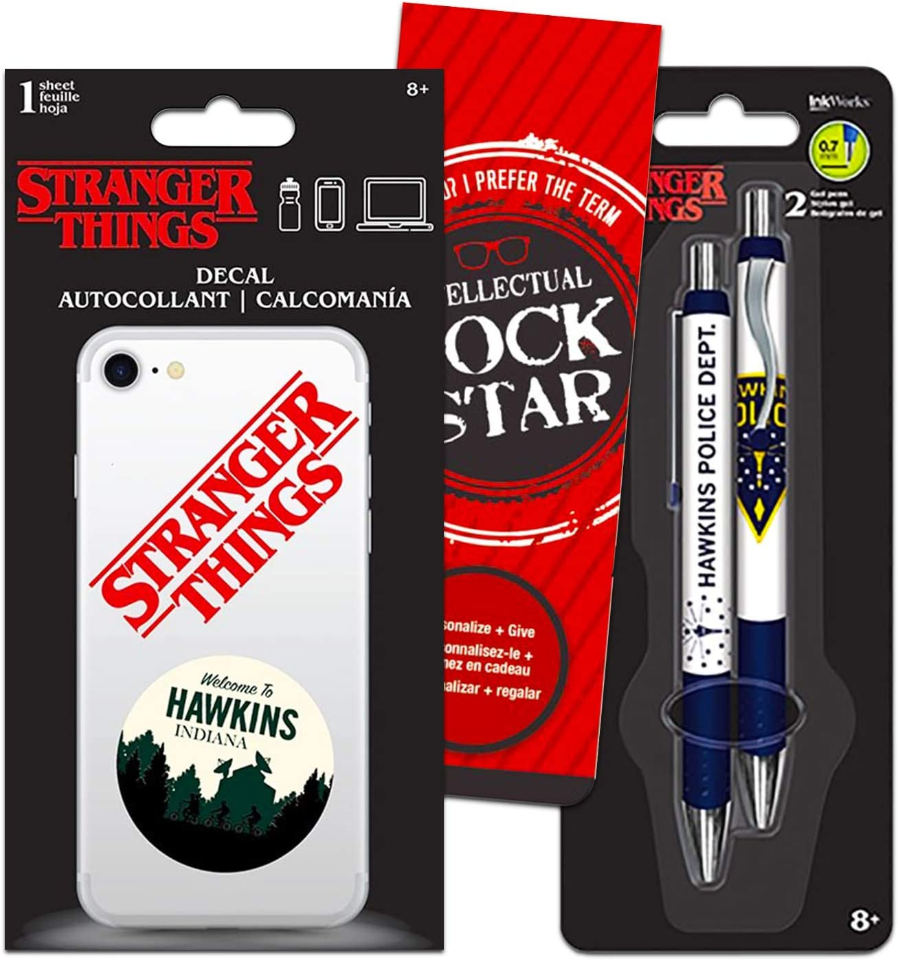 Stranger Things Pens and Stranger Things Decal Stickers for Phone Laptop Bundle Set with Bookmark (Stranger Things School Office Supplies)