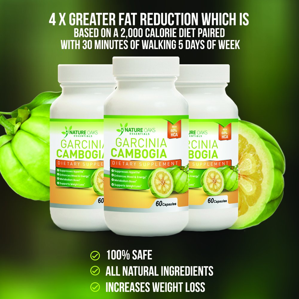 Pure Garcinia Cambogia Extract, Fat Burner - Appetite Suppressant and Fat Burner by Nature Oaks Essentials - Fat Blocker, 60 Capsule Count, 1000Mg Garcinia Cambogia Capsules by Nature Land Candles (Image #5)