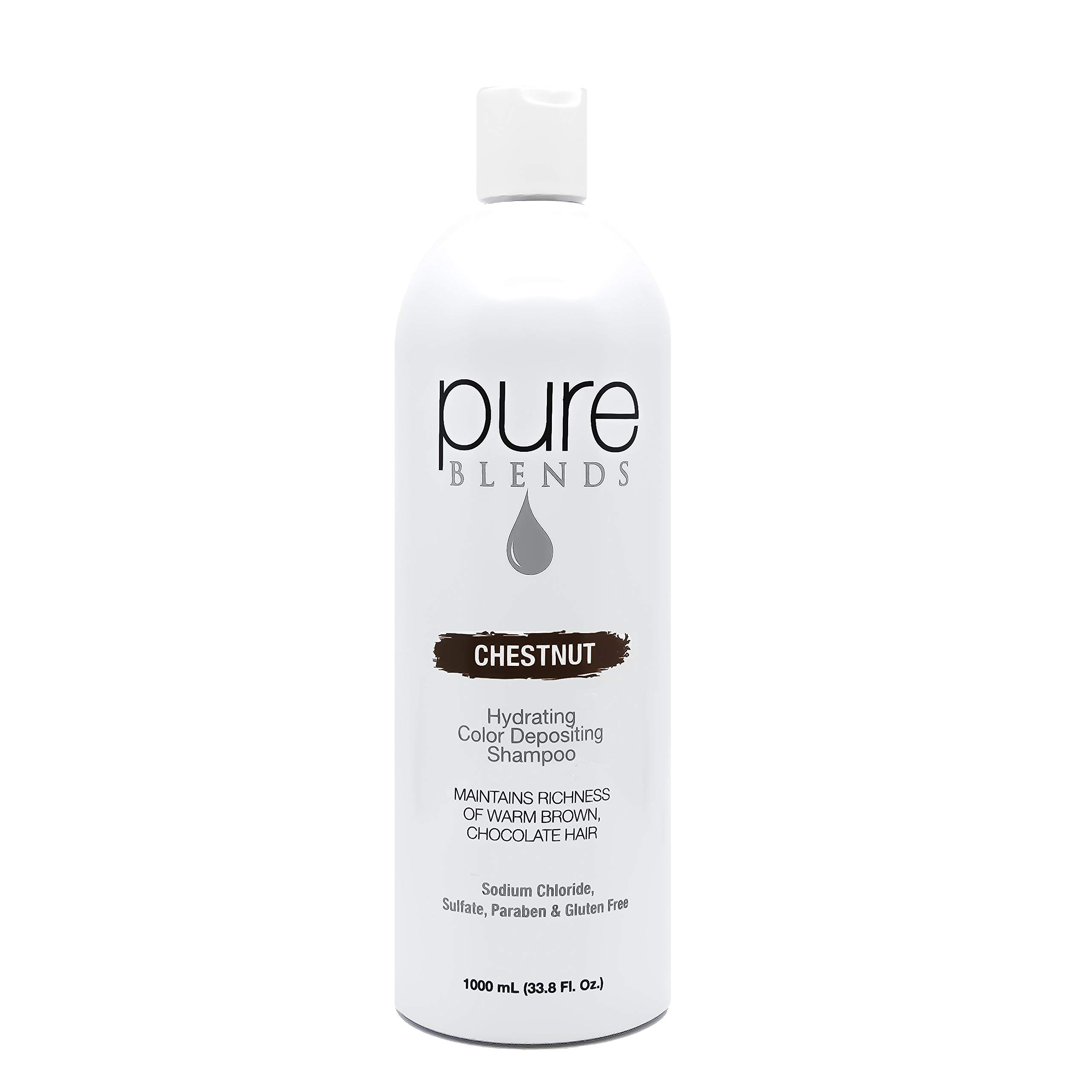 Pure Blends Hydrating Color Depositing Shampoo - Chestnut (Warm Brown Chocolate Tones) 33.8 Ounce - Salon Quality by Pure Blends