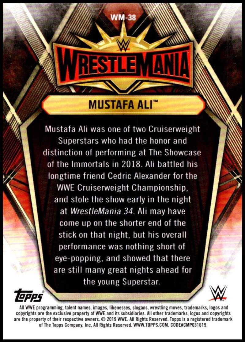 2019 Topps Road to WrestleMania Wrestlemania 35 Roster Wrestling #WM-38 Mustafa Ali Official WWE Trading Card From Topps