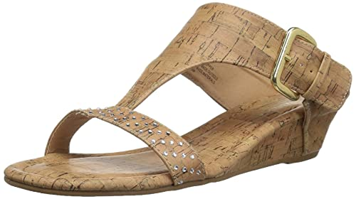 9cc47f25864d49 Rampage Women s Sheryl Demi Wedge T-Bar Slip-On Thong Sandal  Buy ...