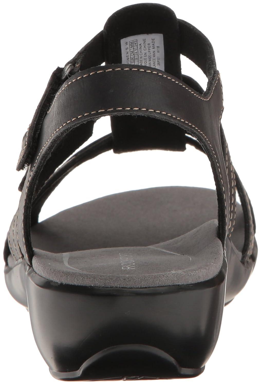 Rockport Women's Rozelle Gladiator Wedge Sandal B01JIPEOEK 10 B(M) US|Black Smooth