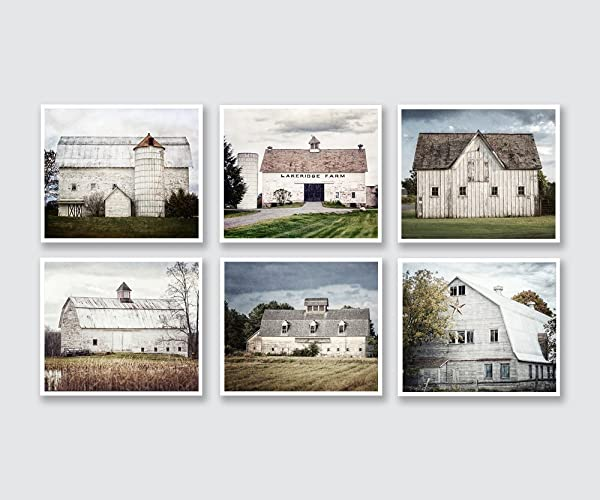 Amazon.com: Rustic Farmhouse Decor Wall Art Set of 6 White and Gray ...
