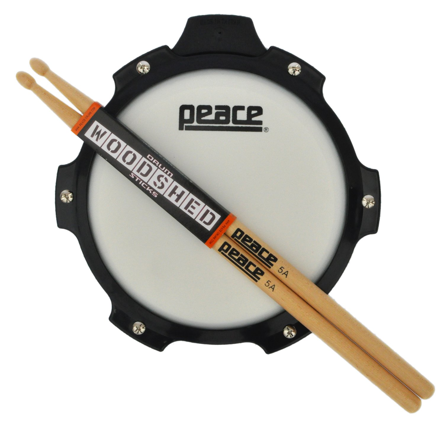 "Drum Pad With Sticks From Peace Drums. Snare Drum Practice Pad And Drumsticks Set. Drum Practice Pad Kits Come With 5a Drumsticks. 8"" Drum Pad"