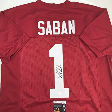 394dc853c Autographed Signed Nick Saban Alabama Red College Football Jersey JSA COA