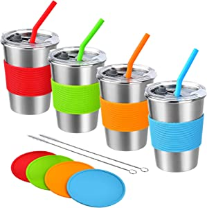 Kids Cups with Straw and Lid Spill Proof,4 Pack 12oz Stainless Steel Drinking Tumbler with Coasters,Unbreakable Water Glasses,BPA-Free Metal Sippy Mug for Toddler,Children,Adult, Indoor,Outdoor