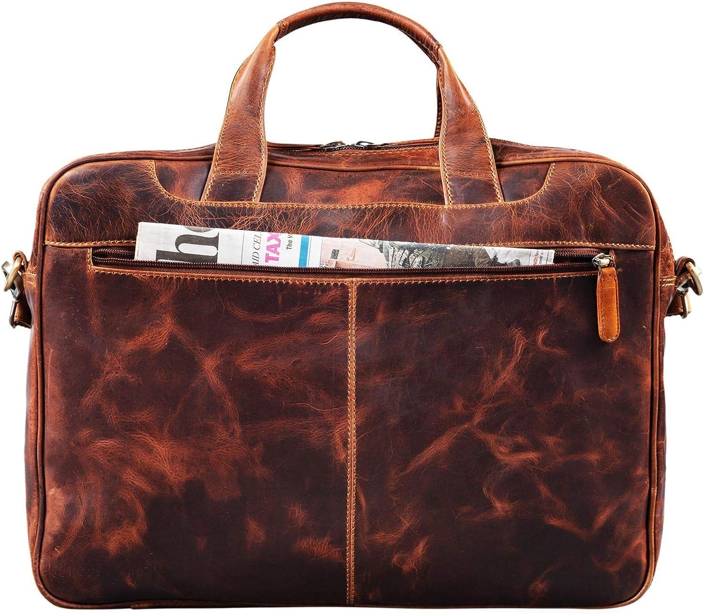 Cognac STILORD Nelson Sac daffaires Homme Cuir Sacoche XL Serviette en Cuir Cartable Sac /à Bandouli/ère Vintage Sac d/Épaule Couleur:Kara