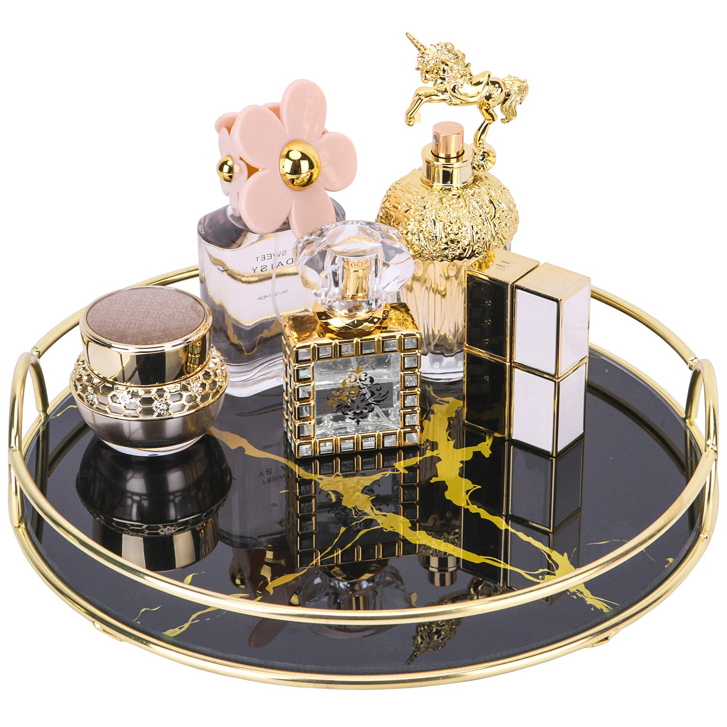 Simmer Stone Vanity Tray, Decorative Glass Perfume Tray for Makeups, Jewelries and Decors, Round Makeup Organizer Rack for Dresser, Bathroom Countertop, Ottoman, Coffee Table and More