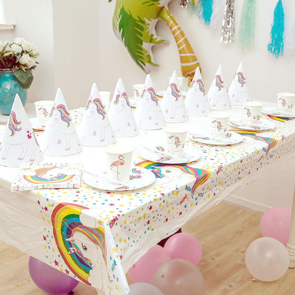 Amazon W ShiG 51 Pcs Unicorn Birthday Party Decorations Supplies Kit Themed For Kids GirlsInclude PlateNapkinCup