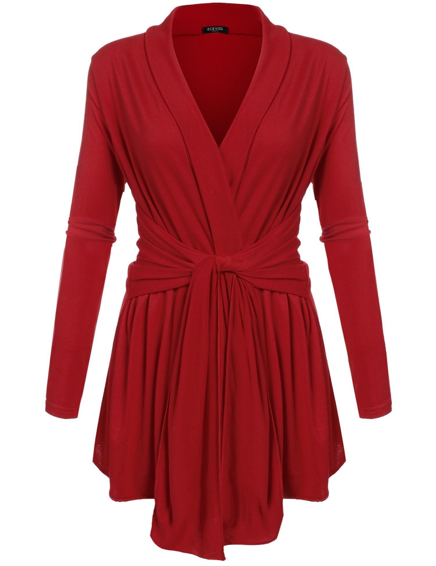 Zeagoo Women's Open Front Knit Long Sleeve Belted Outwear Sweater Cardigan Red M