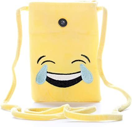 HC Toys LLP Laughing Emoji Smiley Plush Stuffed Soft Toy Sling Bag for Kids Boys Girls Backpacks