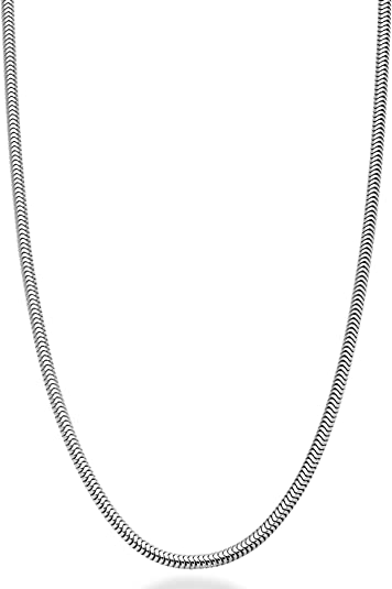 16, 18, 20, 22, 24, 30 Inch Sterling Silver 1.1mm Italian Square Snake Chain Necklace