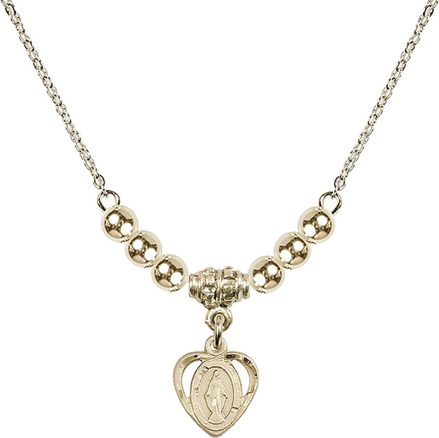 Bonyak Jewelry 18 Inch Hamilton Gold Plated Necklace w// 4mm Gold Filled Beads and Miraculous Charm