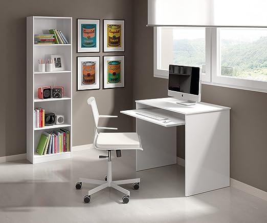 HABITMOBEL Pack Escritorio + estantería 6 baldas Color Blanco ...