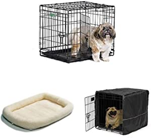 24-Inch Double Door iCrate with Fleece Bed and Cover