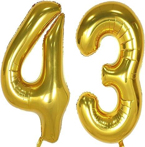 Amazon Com 43 Globos De 40 Pulgadas Dorados Con Globo Sw 43 De Lámina Plateada 48 Globos De Helio Números Digitales 48 Cumpleaños Decoración Para Niñas O Niños 48 Cumpleaños Suministros Para Fiestas Globo