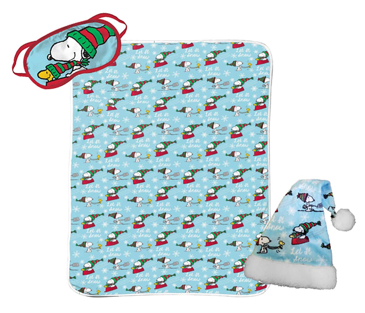 Jay Franco Peanuts Snoopy 3 Piece Holiday Set - Kids Christmas Bedding, Super Soft Sherpa Throw Blanket & Eye Mask with Bonus Santa Hat (Official Peanuts Product) by Jay Franco