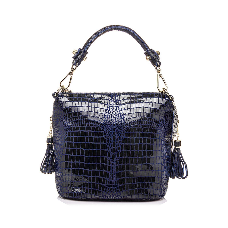 pursuit-of-self genuine leather handbag women small tote bag,Blue,China