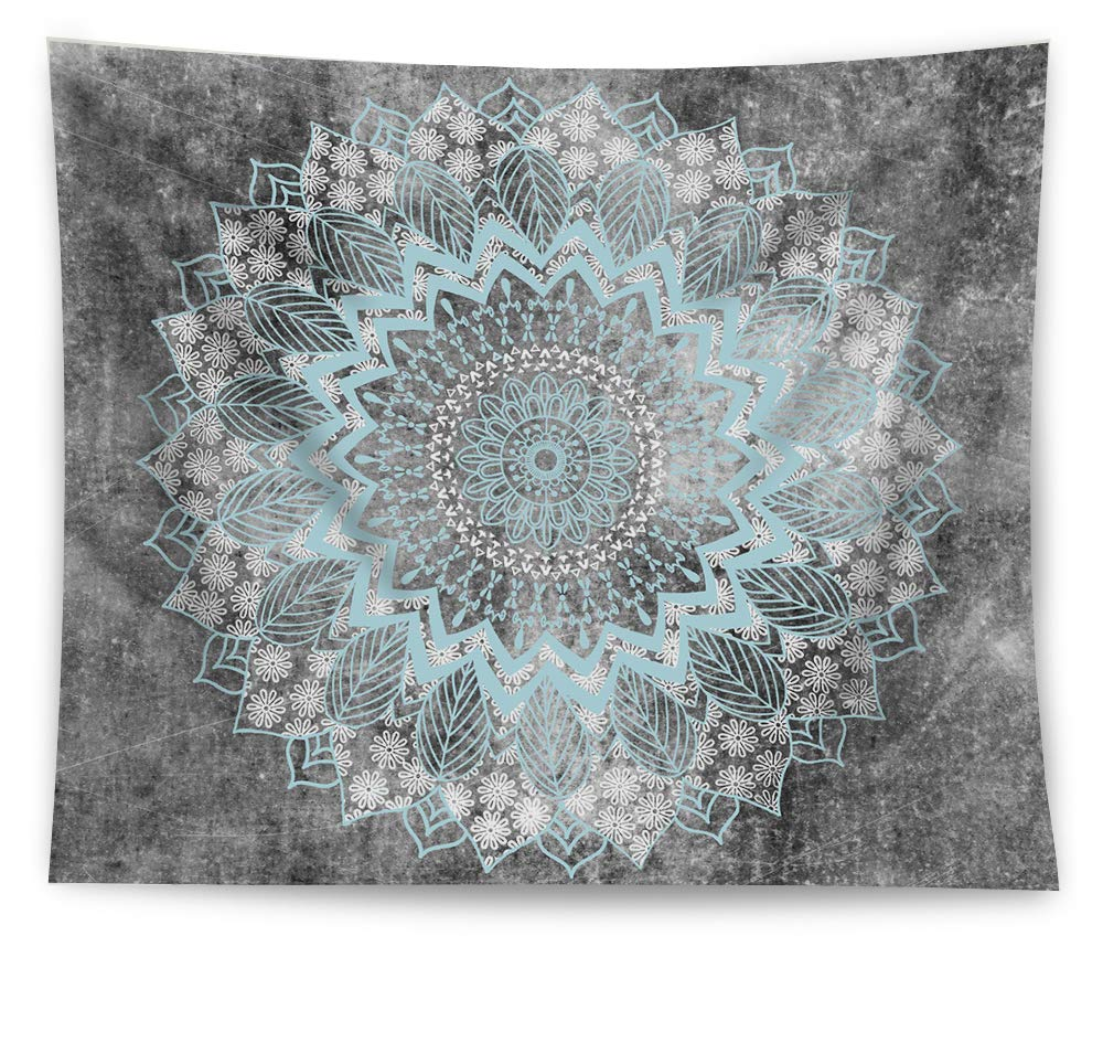 HAOCOO New Art Stylish Pattern Wall Hanging Tapestry for Bedroom/Living Room/Dorm Accessories (51 x 60 Inch, Grey Mandala)