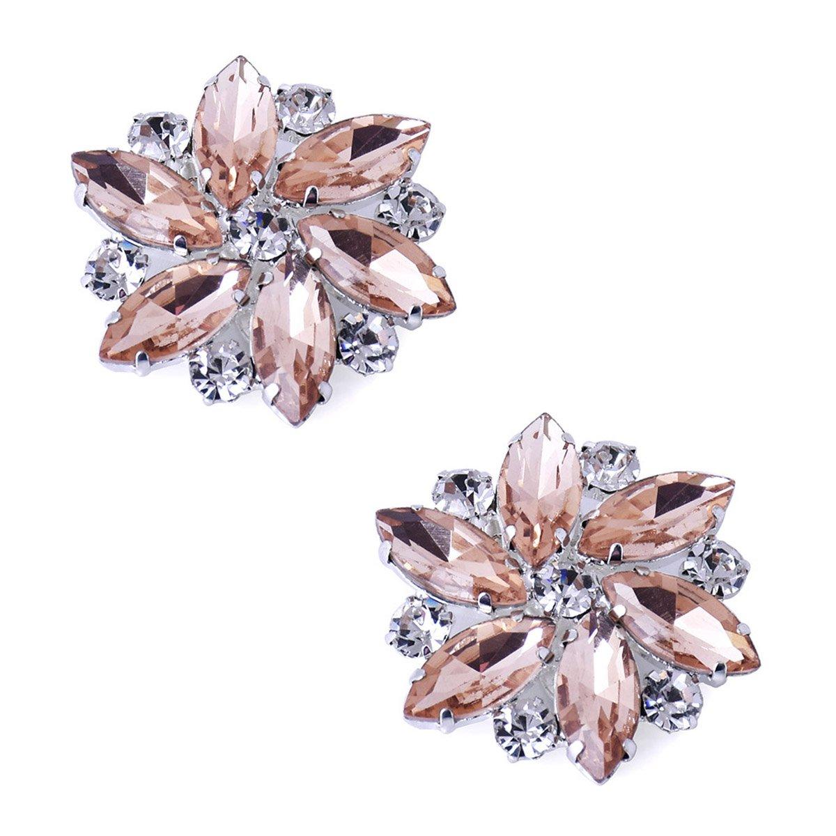 ElegantPark AJ Shoes Dress Hat Accessories Fashion Rhinestones Crystal Shoe Clips 2 Pcs Blush